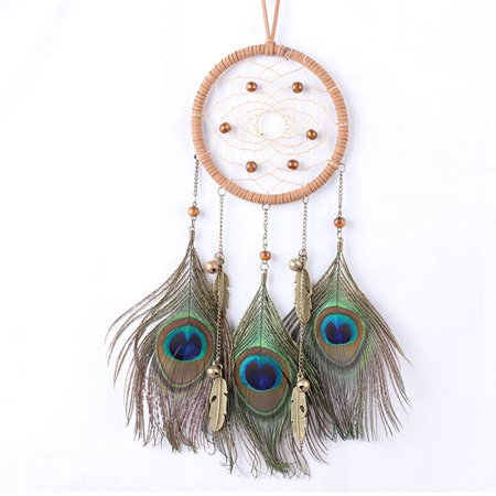 Dream Catcher Circular Net With Peacock Feathers Wall Hanging Car Hanging Decor Gift - Walmart.com