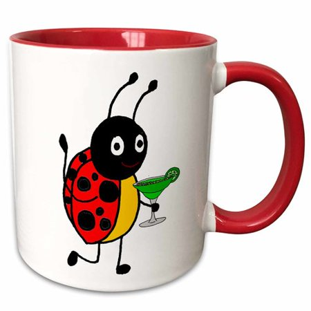 3dRose Funny Cute Ladybug Drinking Margarita Cartoon Coffee Mug