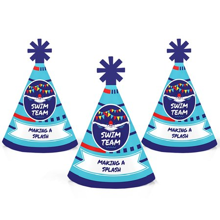 Making Waves - Swim Team - Mini Cone Swimming Party or Birthday Party Hats - Small Little Party Hats - Set of 10 - Mini Birthday Party Hats