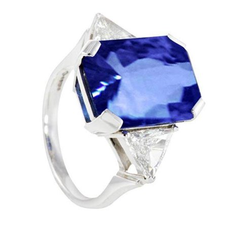 Harry Chad Enterprises 2829 5.01 CT 3 Stone Diamonds AAA Tanzanite Radiant Cut Engagement