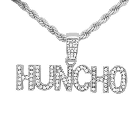 - 14K White Gold Plated Hip Hop Bling Iced Out Quavo Huncho Letter Pendant with 24