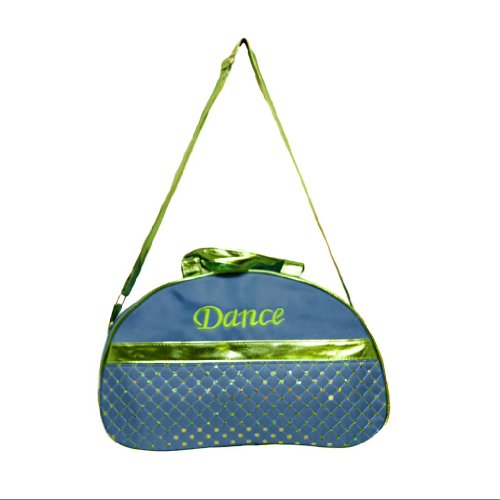 Dance Duffle Bag Blue & Metallic Green Moon Sequin & Shoulder Strap Duffle Bag by