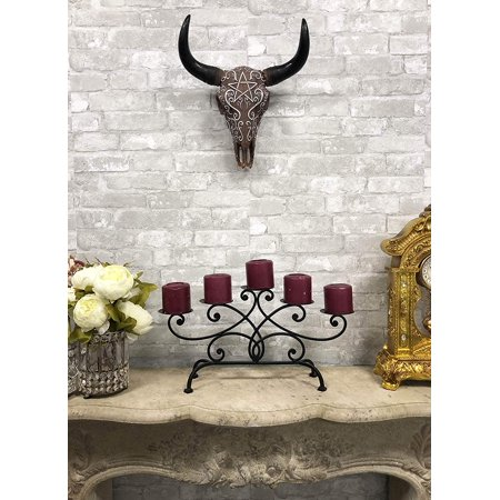 "Ebros Wicca Horned Pentagram Bison Buffalo Skull Head Wall Decor with Filigree Pattern 16.5"" Tall Taxidermy Replica Native Sacred Animal Bust Hanging Mounted Sculpture"