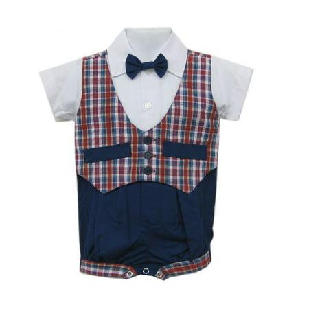 Baby Boys Blue Red Plaid Bowtie Short Sleeve One-piece Bodysuit 3-9M (Plaid Onesie)