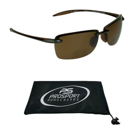proSPORT Polarized Bifocal Reading Sunglasses Brown Tinted for Men & Women. Modern Sporty Light & Comfortable Rimless (Bifocal Sunglasses For Men)