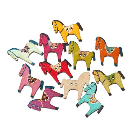 Sexy Sparkles 10 Pcs Horse Wood Buttons Assorted Colors and Patterns 29mm