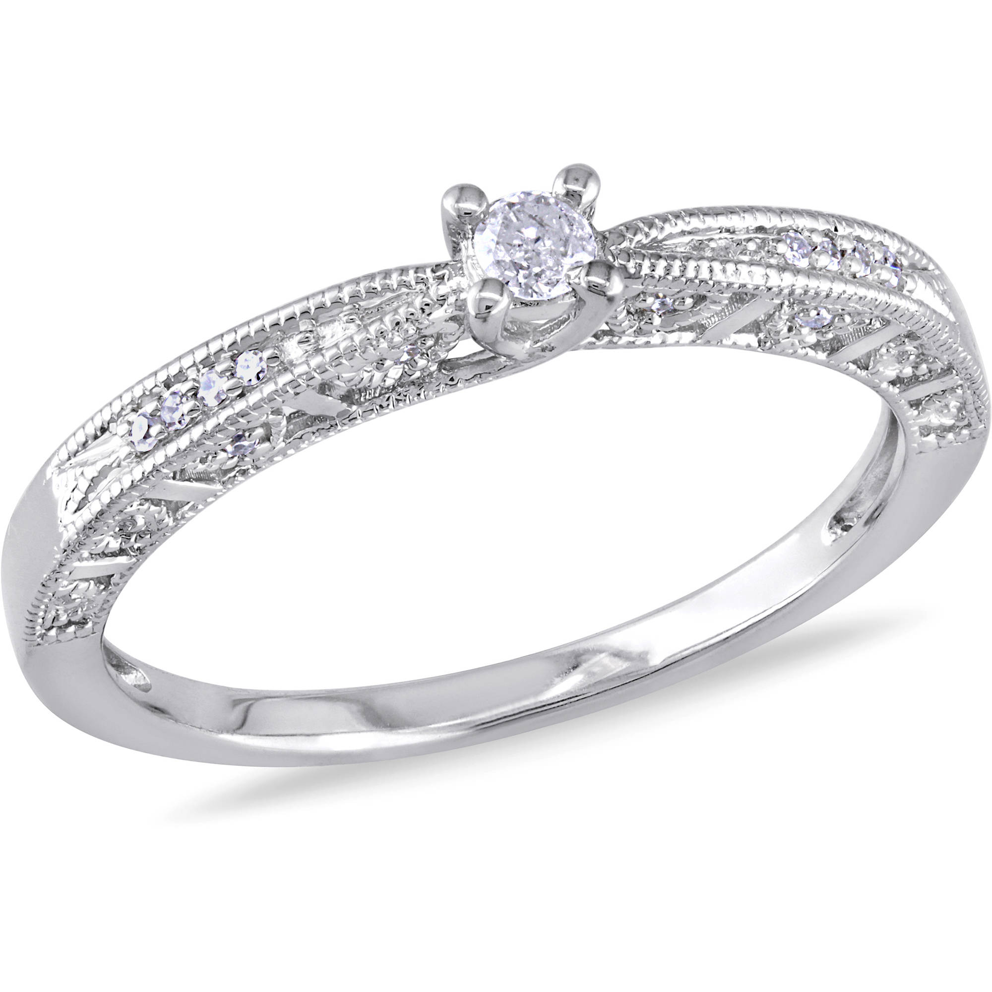 Miabella 1/10 Carat T.W. Diamond Sterling Silver Engagement Ring