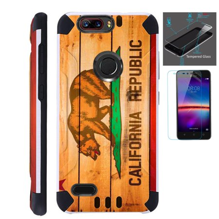 For ZTE Blade Z Max (Metro PCS) / ZTE ZMax Pro 2 / ZTE Grand X Max 4 / ZTE Sequoia Case + Tempered Glass Slim Dual Layer Brushed Texture Hybrid TPU KomBatGuard Phone Cover (California Flag Wood) ()