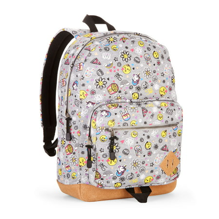 No Boundaries Grey Emoji Suede Bottom Backpack