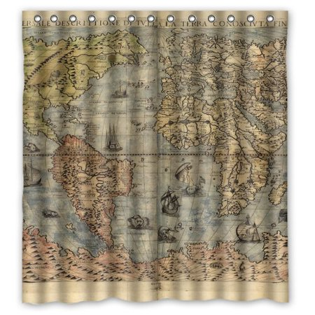 GreenDecor Flawless Gorgeous Creative Nautical Maps Retro Waterproof Shower Curtain Set with Hooks Bathroom Accessories Size 66x72 inches - Nautical Shower Curtain Hooks