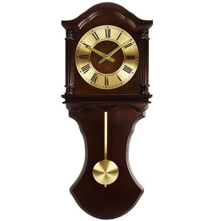 Bretford Wall (Bedford Clock Collection Chocolate Wood Wall Clock with Pendulum and Chimes )