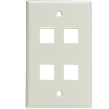 - ACL Keystone 4 Port, Single Gang Wall Plate, White, 1 Pack