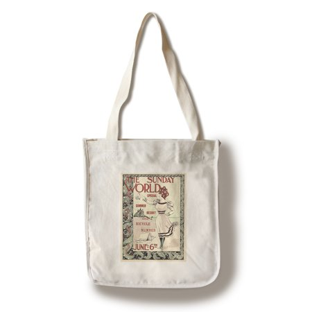 The Sunday World Vintage Poster (artist: Edge) UK c. 1897 (100% Cotton Tote Bag - Reusable) (Edge Tote)