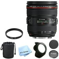 Canon EF 24-70mm f/4.0L IS USM Standard Zoom Lens AL'S VARIETY Premium Lens Bundle + U.V. Filter + Deluxe Case + Al's Variety Cleaning Cloth + 5pc Bundle
