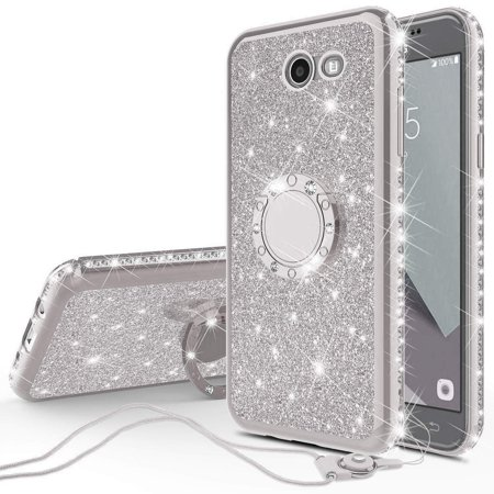 Compatible for Samsung Galaxy J3 Eclipse/J3 Mission/Galaxy J3 Emerge,Galaxy J3 Prime 2017/Galaxy Luna Pro/Galaxy Sol 2/Amp Prime 2 Case Rhinestone Glitter Diamond Cover with Ring Stand - Silver