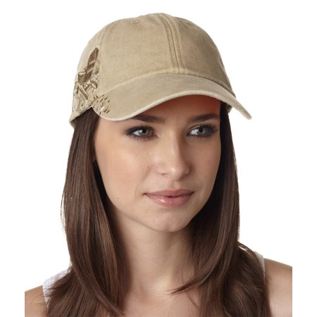 Logo Print Khaki (Whispering Pines Sportwear LPAC1 Resort Cap 6 Panel Emb With Adirondack Chairs Logo, Khaki)