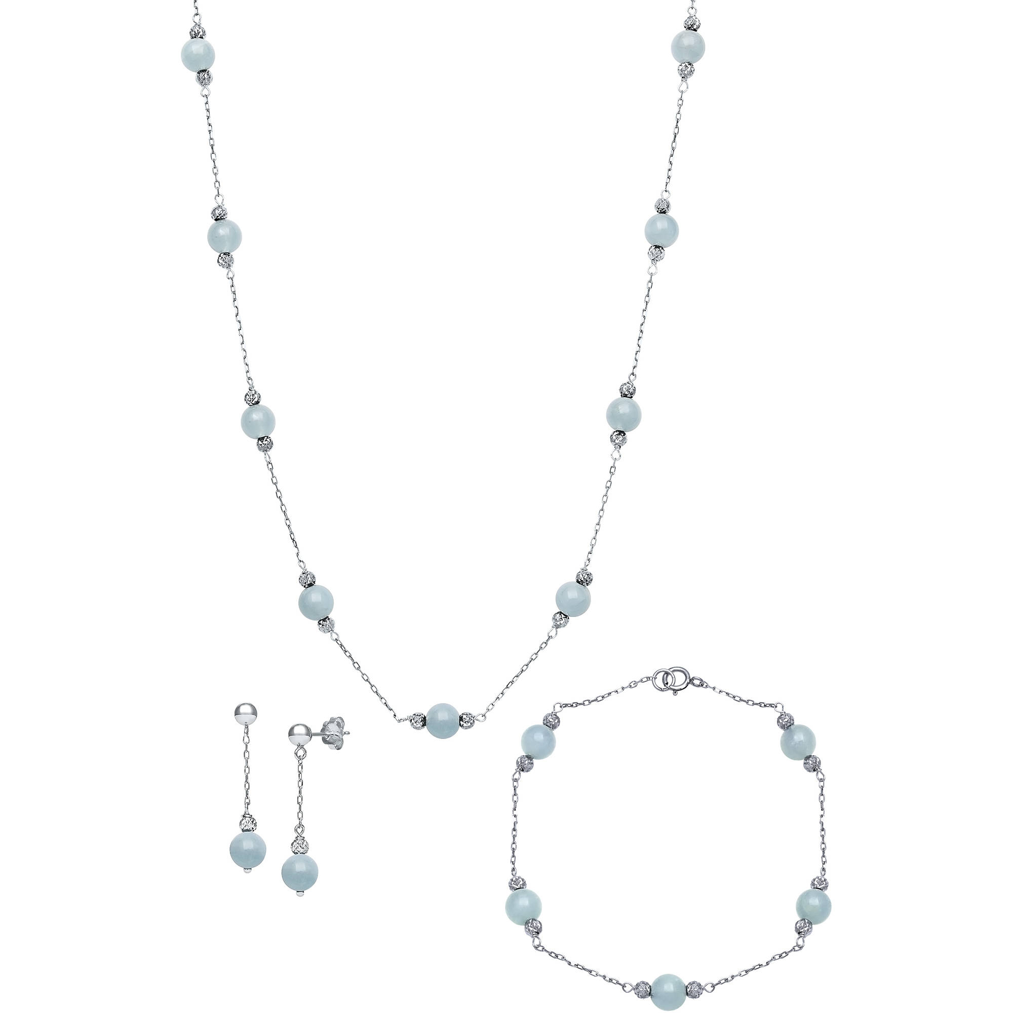 Natural Milky Aquamarine Station Tin Cup Link Necklace,Bracelet, and Drop Earring Jewelry Set by China Pearl