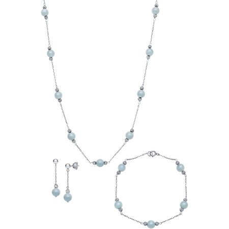 Aquamarine Jewelry - Natural Milky Aquamarine Station Tin Cup Link Necklace,Bracelet, and Drop Earring Jewelry Set