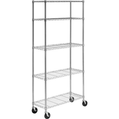 Honey Can Do 5 Shelf Steel Storage Shelving Unit Chrome Walmart Com