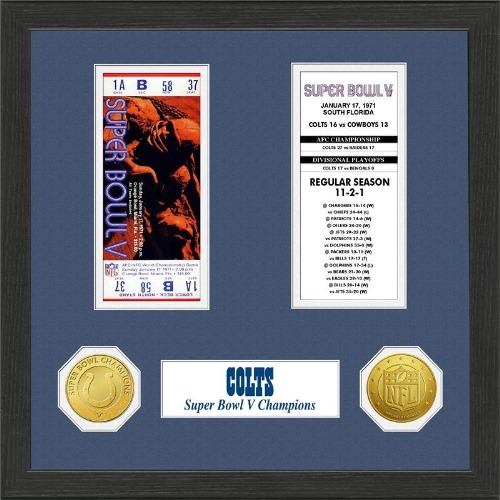 NFL Framed Wall Art by The Highland Mint, Baltimore Colts - Super Bowl Championship Ticket