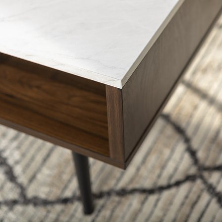 Booker Dark Walnut and Faux Marble Coffee Table by Bellamy Studios