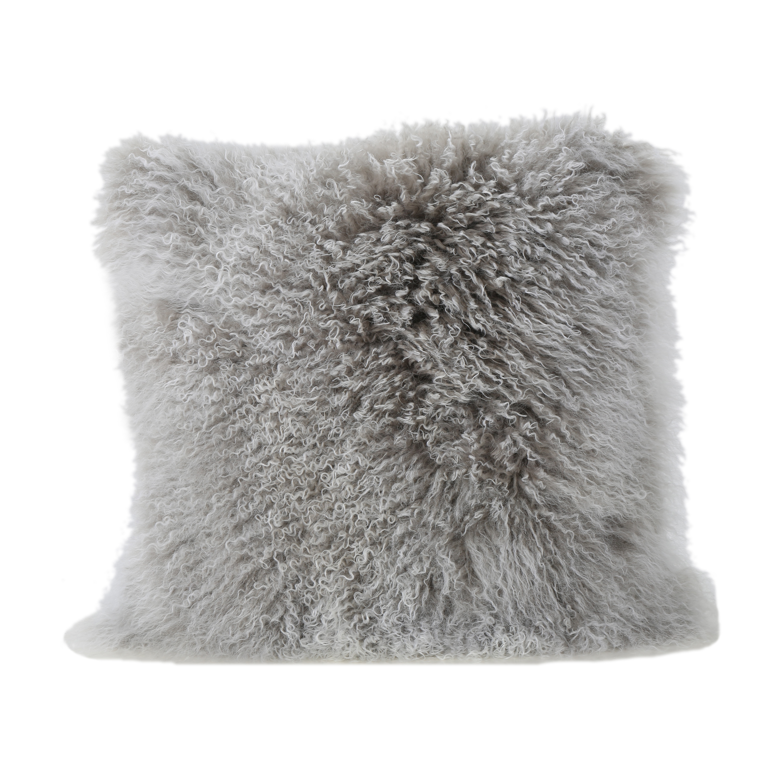 Marybelle Shaggy Lamb Fur 20 x 20 Square Pillow, Stone Grey