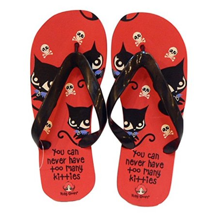 Mighty Fine Bad Cat Ruby Gloom Flip Flops Thong Sandal (Small 5-6, (14k Ruby Slide)