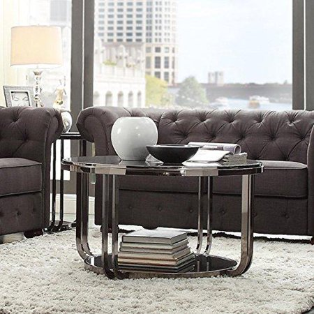 Glass Top Metal Finish - Modern Style Nickel Plated Black Round Shaped Tempered Glass Top Cocktail Coffee Table  Metal Frame