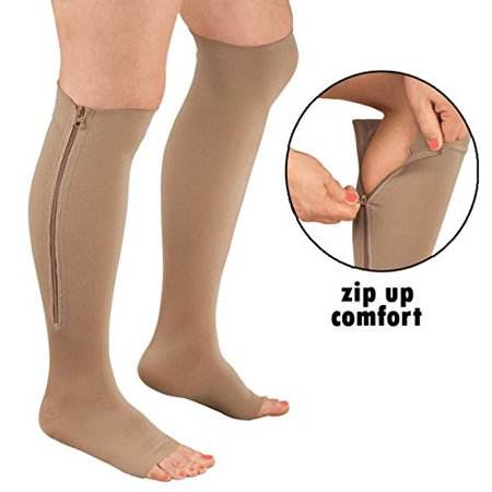 bbb6527d65 Zipper Pressure Compression Socks Support Stockings Leg - Open Toe Knee High  - 20-30mmHg - Helps Circulation, Varicose Veins, Swollen Legs, Zipper -  Nude ...