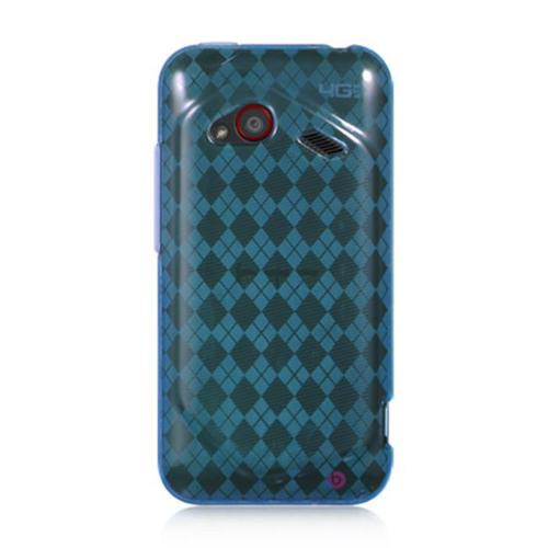 HTC Droid Incredible (LTE version) Case, by DreamWireless Checker TPU Rubber Candy Skin Case Cover For HTC Droid Incredible (LTE version), Blue