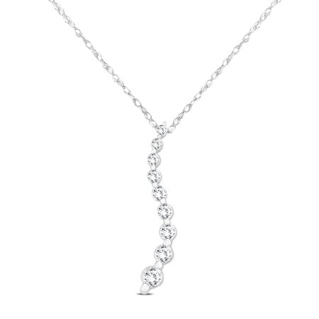 - 1/4 Carat TW Diamond Journey Pendant in 10K White Gold