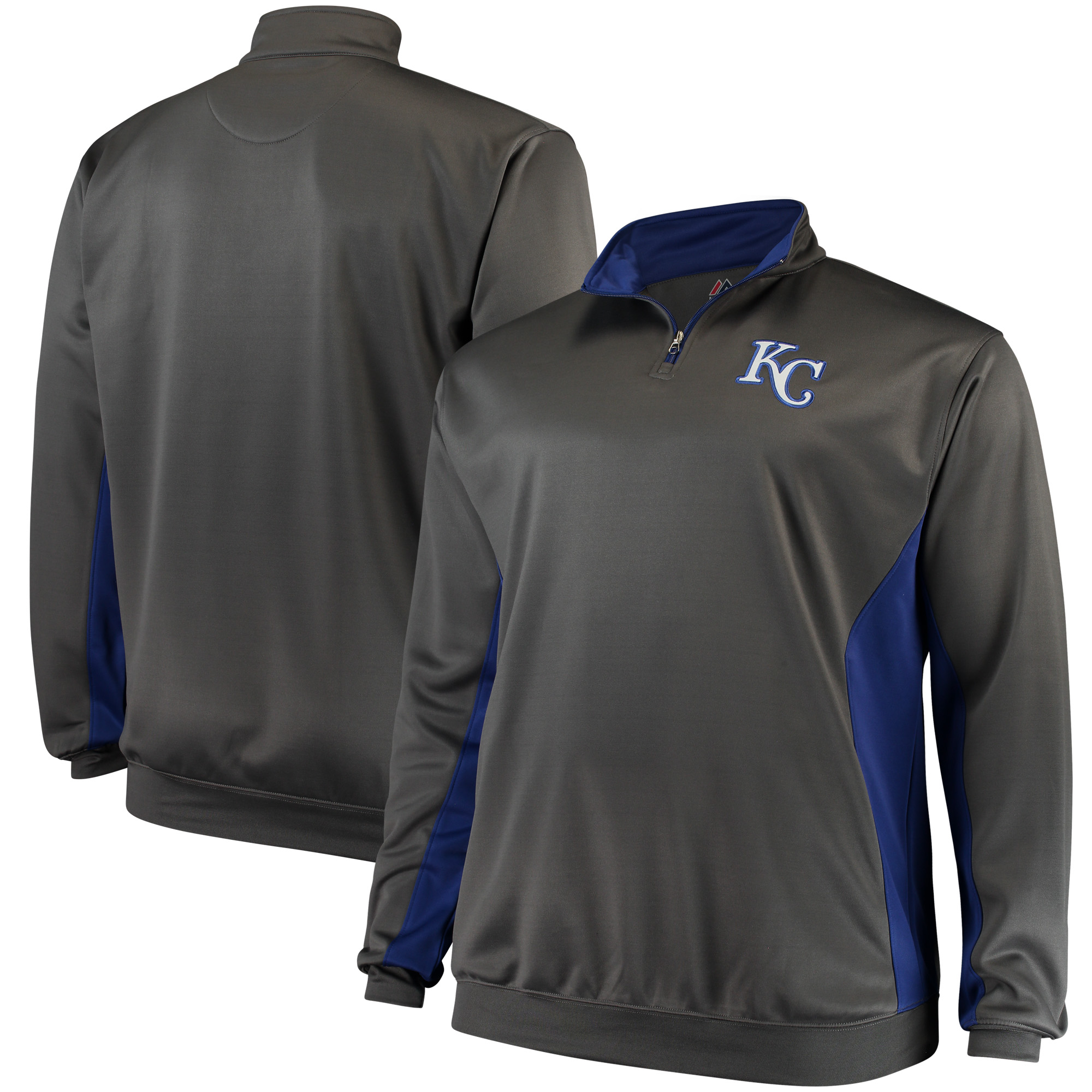 Kansas City Royals Majestic Fleece Pullover Quarter-Zip Jacket - Charcoal/Royal