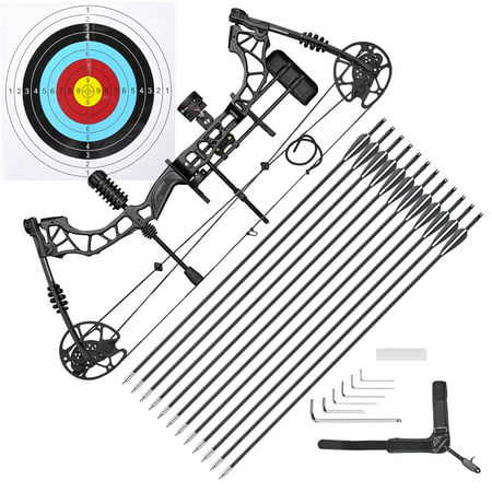 70 Lbs Pro Compound Bow Kit Right Hand Target Practice Hunting Arrow Archery Man thumbnail