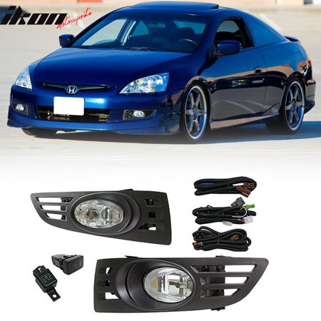 Fits 03 05 Honda Accord 2door Coupe Jdm Clear Lens Fog Lights With Switch Pair
