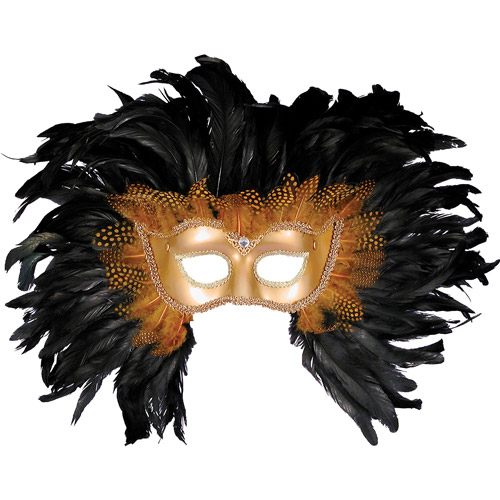 Half Style Gold Mask with Feathers Accessory