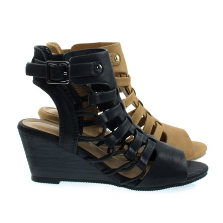 Girls Wedges (Awhile2 by Soda, Little Girl's Elastic Fisherman Gladiator Cage Sandal On Stack)
