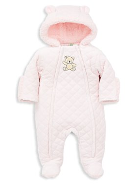 Baby Girl's Bear Faux-Fur Lined Pram