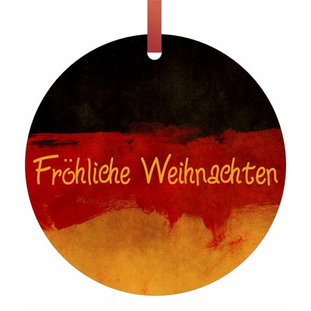 Germany Flag - Frohliche Weihnachten Hanging Round Shaped Tree Ornament - (Flat) - Double Sided - Holiday - Christmas - Tm - Made in the USA - Heart Shaped Christmas Ornaments
