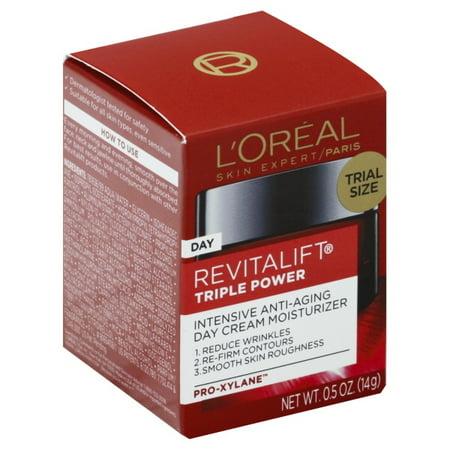 L'Oreal Paris Revitalift Triple Power Intensive Anti-Aging Day Cream Moisturizer, 0.5