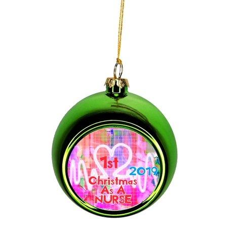 Ornaments Medical 1st Christmas as a Nurse 2019 1st Ornaments Green Bauble Christmas Ornament Balls ()