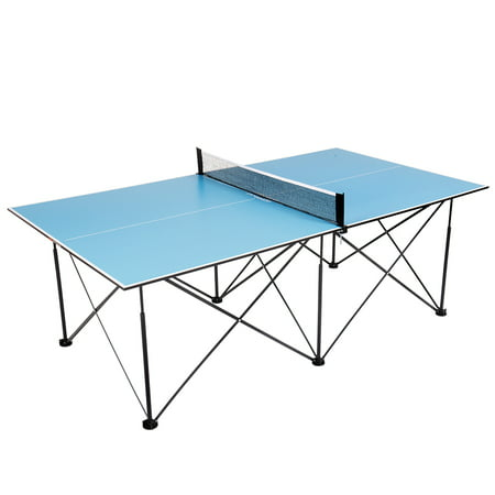 Ping-Pong 7' Instant Play Pop-Up Compact Table Tennis Table with No Tools or Assembly Required – Blue