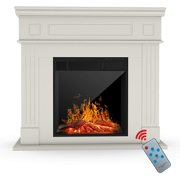 KUPPET Electric Fireplace, Freestanding Electric Fireplace Mantel Package Heater, Log Hearth with Realistic Flame and Remote Control