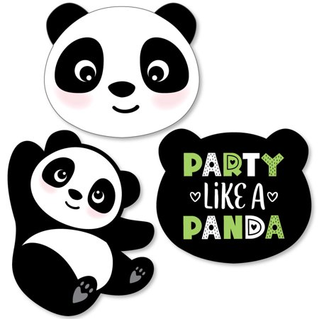 Party Like a Panda Bear - Shaped Baby Shower or Birthday Party Cut-Outs - 24 Count