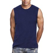 Apparel99 Muscle Sleeveless Workout Shirts Tank Tops for Men | Athletic Gym Bodybuilding Training Compression Tops - 100% Cotton (XXLarge, Navy)