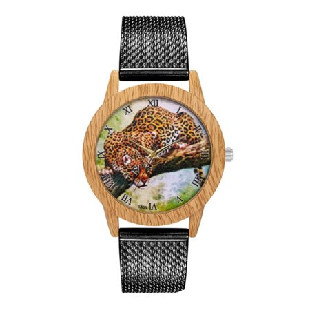 Crouching Cat (Crouching Leopard Big Cat Set in A Woodgrain Style Case with Roman Numeral Numbers Watch-9-A)