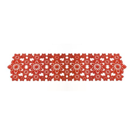 Pack of 6 White and Red Decorative Snowflake theme Table Runners - Red And White Table Runner