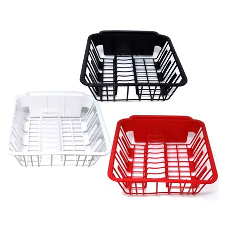 BPA Free Small Dish Drainer Kitchen Sink Rack With Cup Spoon Holders for Home Sink Organizers,easy To Clean-Assorted Colors (dish racks for kitchen sinks)