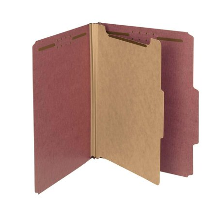 """100% Recycled Pressboard Classification File Folder, 1 Divider, 2"""" Expansion, Letter Size, Red, 10 per Box (13724), Create subdivisions of material or organize.., By Smead"""