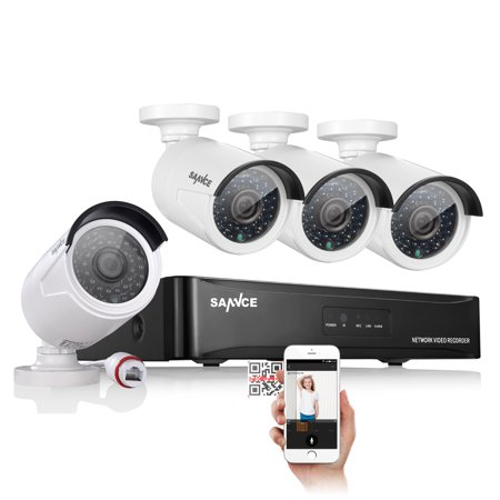 SANNCE 4 Channel 1080P POE NVR Security Camera System and (4) 2.0 MP Outdoor Weatherproof Bullet IP Cameras