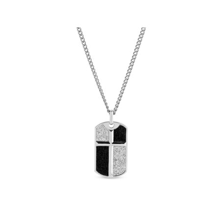 - 316L Stainless Steel Black and Silver Glitter Cross Dog Tag Pendant, 24
